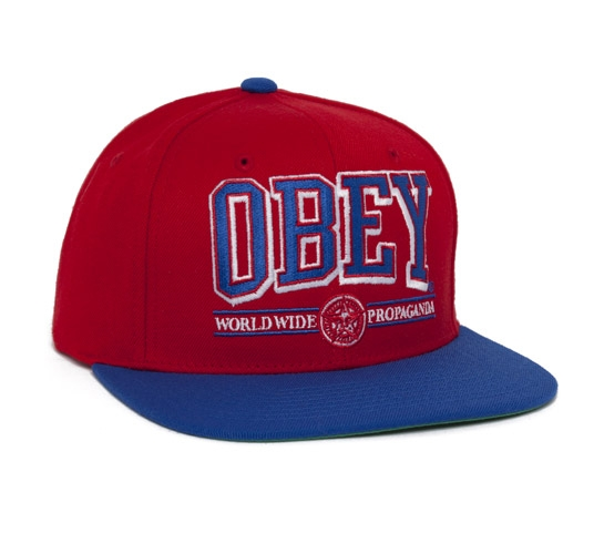 Obey Athletics Snapback Cap (Red/Blue)