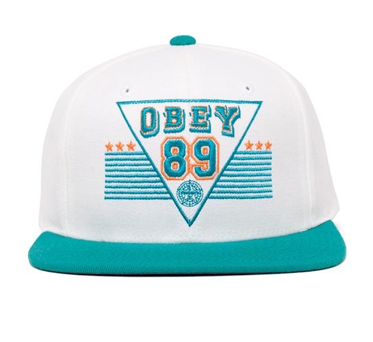 Obey Backfield Snapback Cap (White/Seaglass)