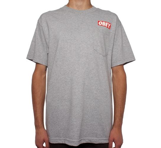 Obey Bar Logo Pocket T-Shirt (Heather Grey)