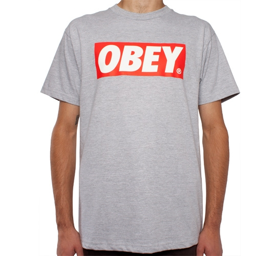 Obey Bar Logo T-Shirt (Heather Grey)
