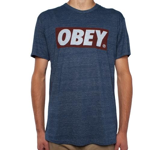 Obey Bar Logo Tri-Blend T-Shirt (Heather Dark Navy)