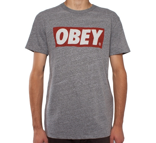 Obey Bar Logo Tri-Blend T-Shirt (Heather Grey)
