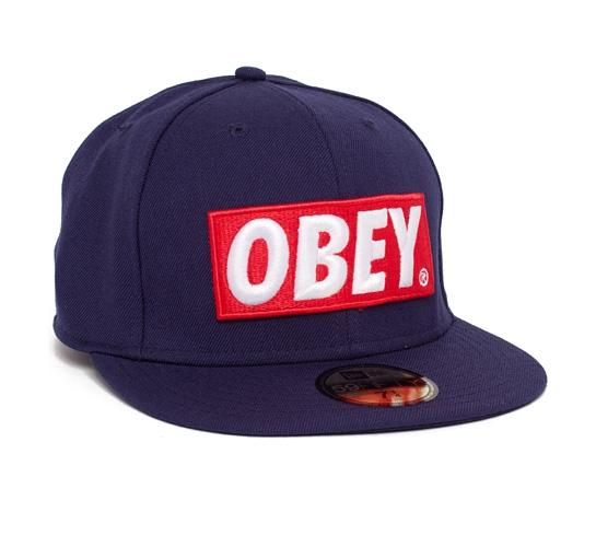 Obey Classic Material New Era Cap (Navy)