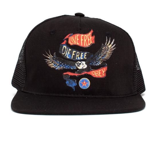 Obey Die Free Trucker Cap (Black/Black)