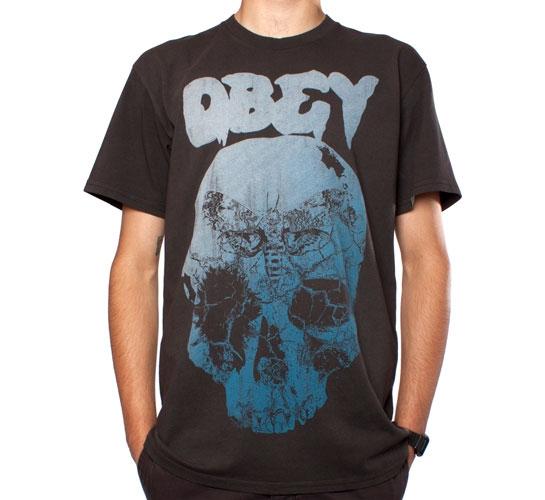 Obey Moth Skull T-Shirt (Heather Graphite)
