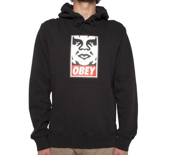 Obey OG Face Hooded Sweatshirt (Black)