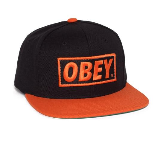 Obey Original Snapback Cap (Black/Orange)