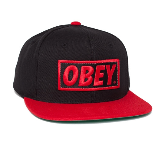 Obey Original Snapback Cap (Black/Red)