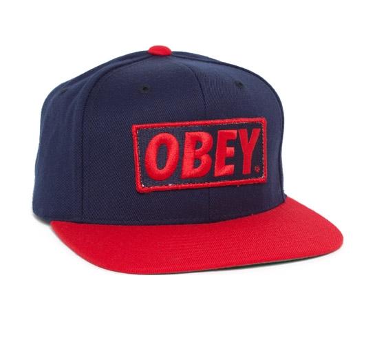 Obey Original Snapback Cap (Navy/Red)