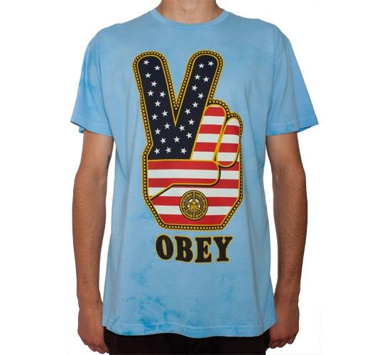 Obey Peace Fingers USA Tie Dye T-Shirt (Sky Blue)