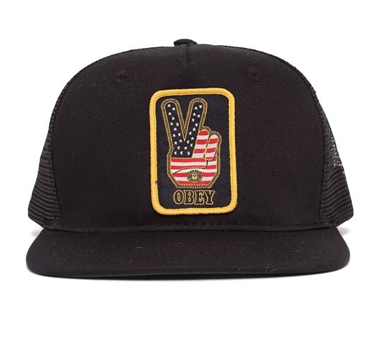 Obey Peace Trucker Cap (Black/Black)