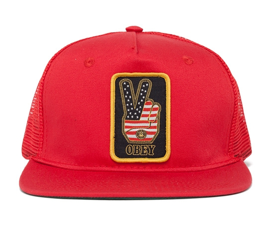 Obey Peace Trucker Cap (Red/Red)
