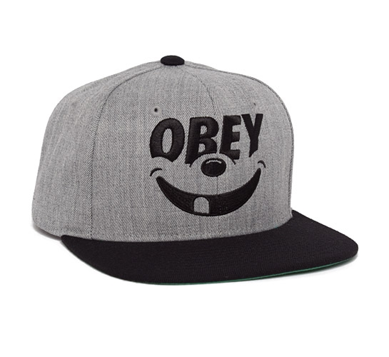 Obey Smile Snapback Cap (Heather Grey/Black)
