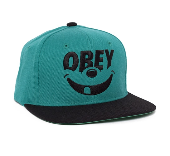 Obey Smile Snapback Cap (Teal/Black)