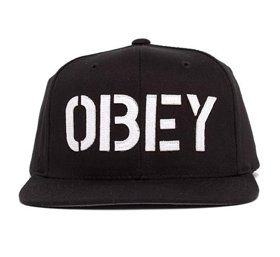 Obey Stencil Snapback Cap (Black/Black)