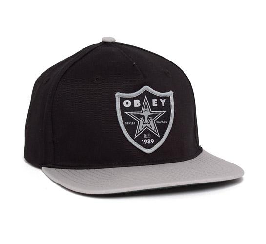Obey Street Savage Snapback Cap (Black/Grey)