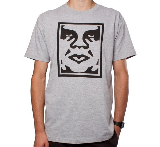 Obey Icon Face T-Shirt (Heather Grey)