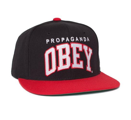 Obey Throwback Snapback Cap (Black/Red)