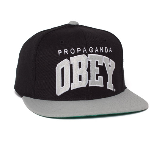 Obey Throwback Snapback Cap (Black/Silver)