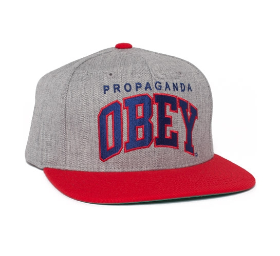 Obey Throwback Snapback Cap (Heather Grey/Red)