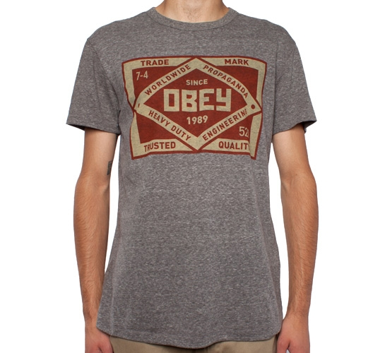 Obey Trademark Tri-Blend T-Shirt (Heather Grey)