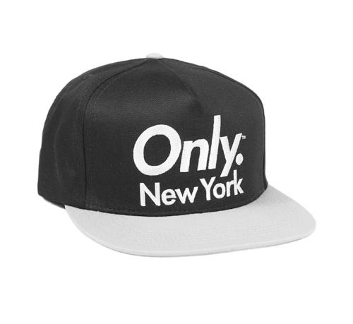 ONLY NY Sports Logo Snapback Cap (Black/Silver)