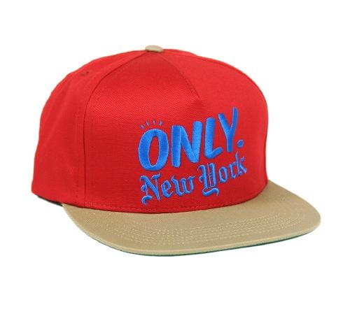 ONLY NY Logo Snapback Cap (Red/Tan)