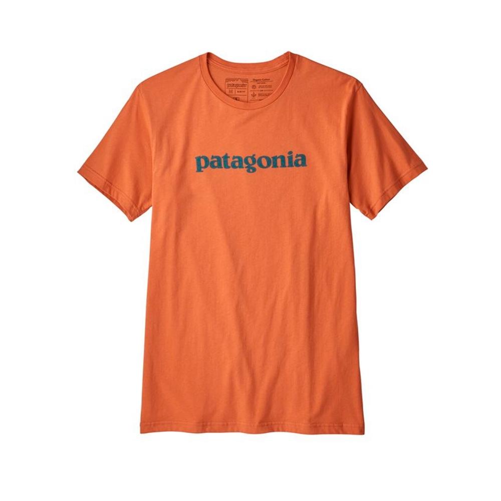 Patagonia Text Logo Organic Cotton T-Shirt (Sunset Orange)
