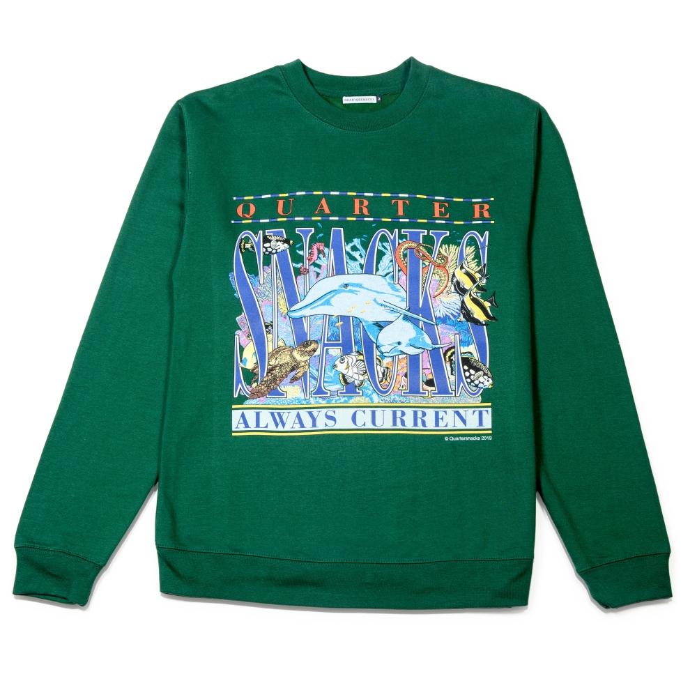 Quartersnacks Always Current Crew Neck Sweatshirt (Green)
