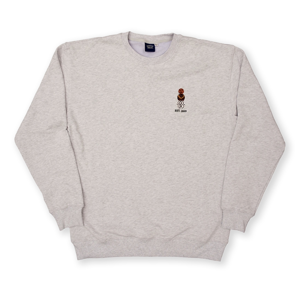 Quartersnacks Embroidered Snackman Crew Neck Sweatshirt (Ash Grey)