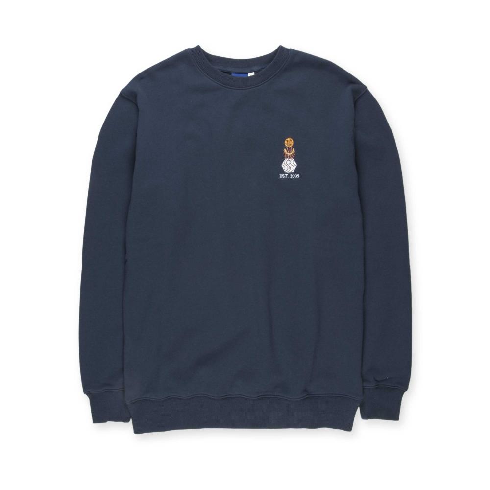 Quartersnacks Embroidered Snackman Crew Neck Sweatshirt (Navy)