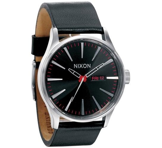 Nixon The Sentry Leather Watch (Black)