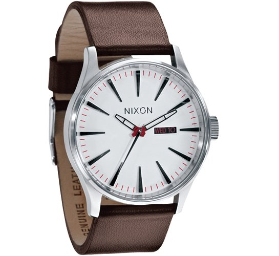 Nixon The Sentry Leather Watch (White)