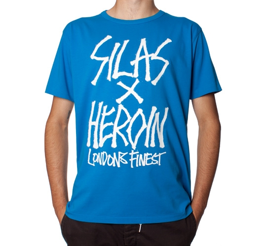 Silas X Heroin Skateboards London's Finest T-Shirt (Blue)