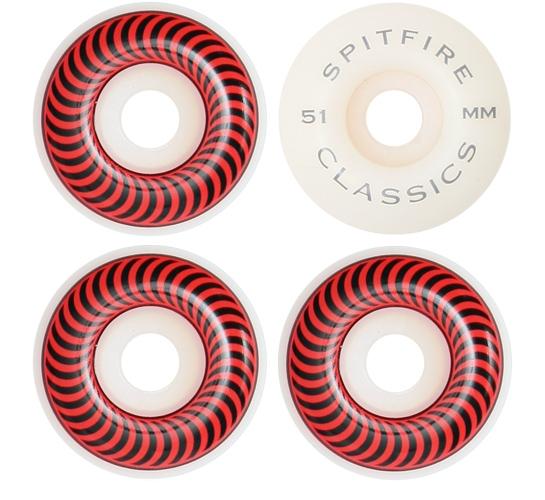 Spitfire Skateboard Wheels - 51mm Classics (White)