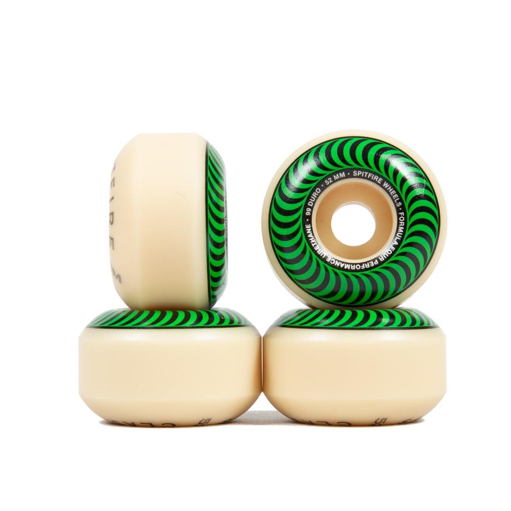Spitfire Formula Four Classics 99DU Skateboard Wheels 52mm (Green)