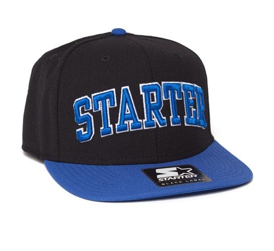 Starter College Arch Snapback Cap (Black/Royal)