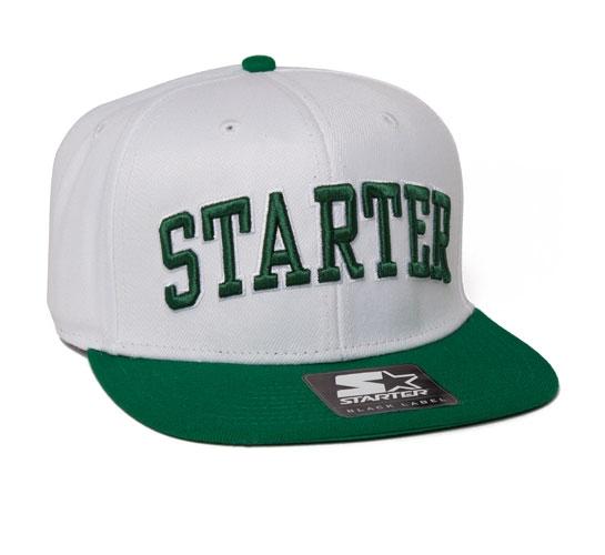 Starter College Arch Snapback Cap (White/Green)
