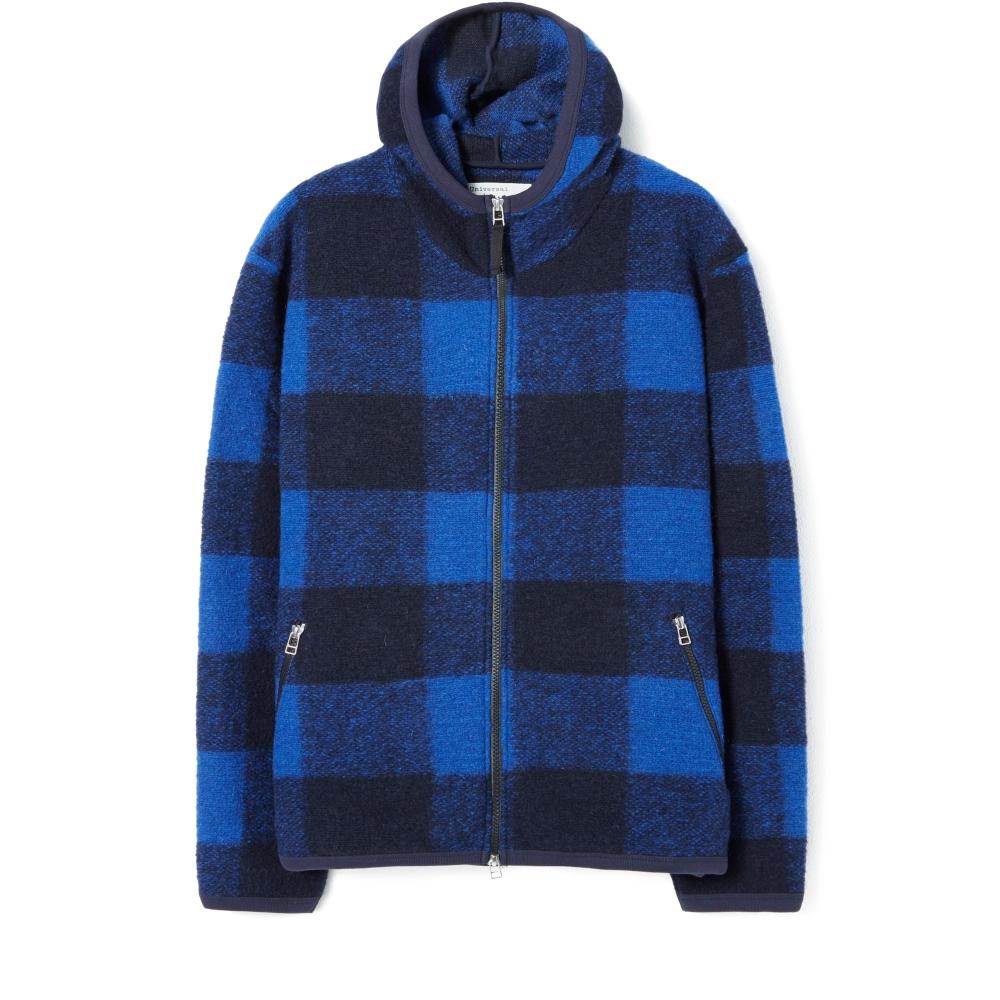 Universal Works Surfer Pullover Hooded Sweatshirt (Blue Checkwool Fleece)
