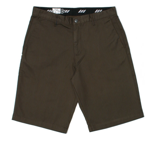Volcom Men's Shorts - Frickin Stripe Chino Short (Brown)