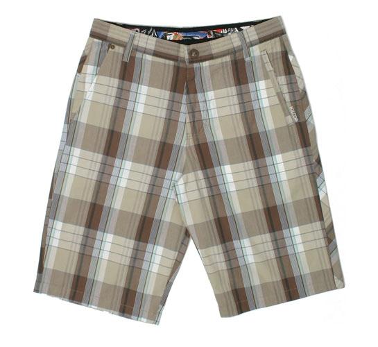 Volcom Men's Shorts - Beta Plaid Short (Khaki)