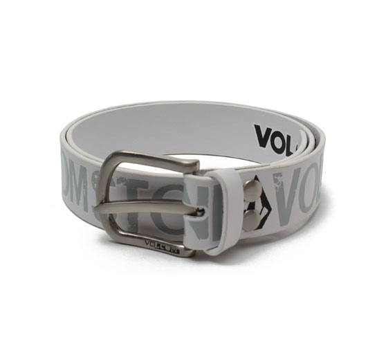 Volcom Men's Belt - Volcom Circle Skid Leather Belt (White)