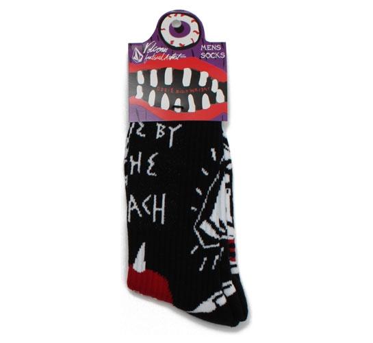 Volcom Men's Socks - Ozzie Wright Sock Puppets (Black/Red)