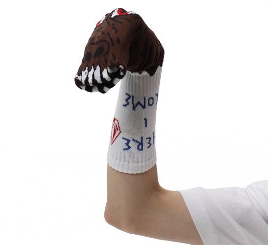 Volcom Men's Socks - Ozzie Wright Sock Puppets (Brown)