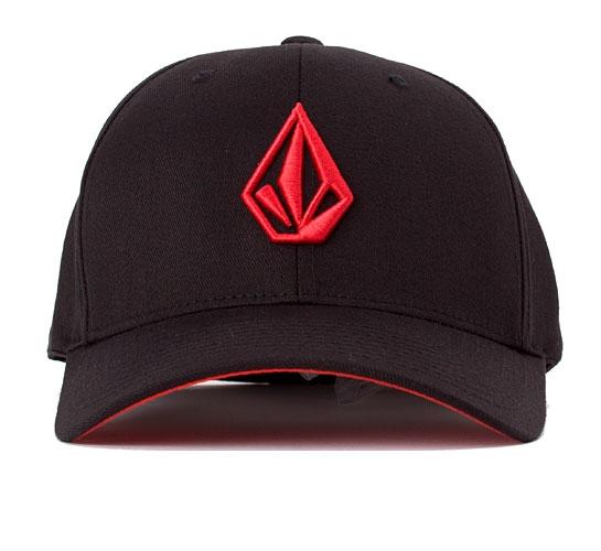 Volcom The Stone 6277 Flexfit Cap (Black/Red)