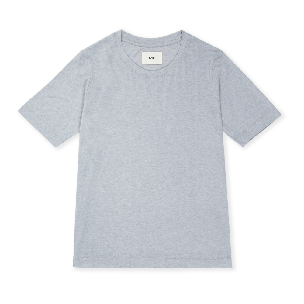 Women's Folk Slouch Wool T-Shirt (Smokey Blue Melange)