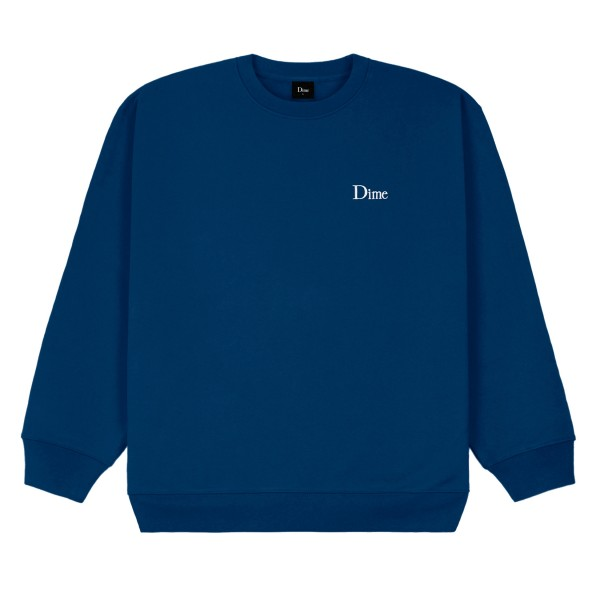 Dime Classic Small Logo Embroidered Crew Neck Sweatshirt (Navy)