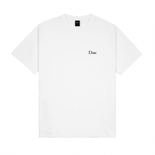 Dime Classic Small Logo Embroidered T-Shirt (White)