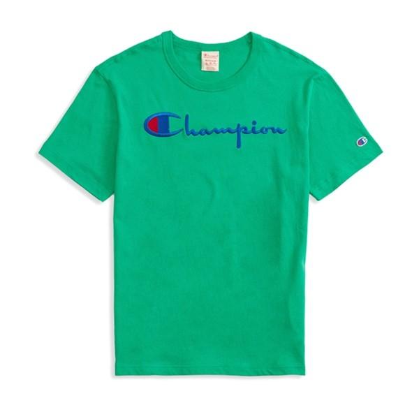 Champion Reverse Weave Script Applique Crew Neck T-Shirt (Green)