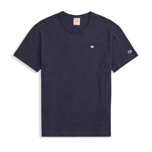 Champion Reverse Weave Script Logo Back Crew Neck T-Shirt (New Navy)